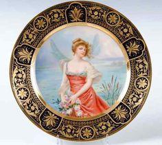 Superb Austrian Royal Vienna Art Nouveau Porcelain Portrait Plate Gold Gilded | eBay