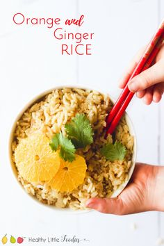 Orange ginger rice. A great side dish for kids. Rice cooked with orange, ginger and cardamom