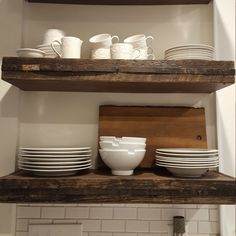 Storage solutions that are functional AND beautiful? These charming provincial floating shelves are made using a combination of reclaimed Aroostook County, Maine potato board wood and new Kitchen Shelves, Wood Shelves, Glass Shelves, Kitchen Cabinets, Closet Shelves, Diy Cabinets, Kitchen Sink, Rustic Kitchen, Kitchen Decor