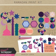 Includes individual PNG files, as well as a PDF file for easy printing and cutting. Diy Eid Cards, Ramadan Cards, Ramadan Greetings, Ramadan Gifts, Kids Cards, 2018 Ramadan, Ramadan Activities, Educational Activities, Ramadan Background