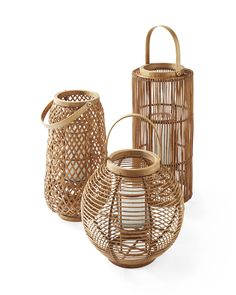 Decor/accessories - A mood-setter for your gatherings, indoors or out. We love a nice grouping of different shapes and sizes – and the coastal air of the natural rattan. Rattan Lampe, Rattan Chairs, Room Chairs, Ethno Style, Beach Gifts, California Cool, Studio Mcgee, Dashboard Design, Candle Lanterns