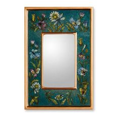 NOVICA Unique Peruvian Reverse Painted Glass Mirror ($38) ❤ liked on Polyvore featuring home, home decor, mirrors, blue, wall decor, glass home decor, gilt mirror, wall mirrors, floral home decor and home wall decor