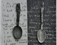 ceramic spoons over woven text  sharon blakey