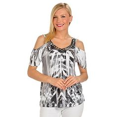 One World Sequin Detailed Cold Shoulder Microjersey Knit Top