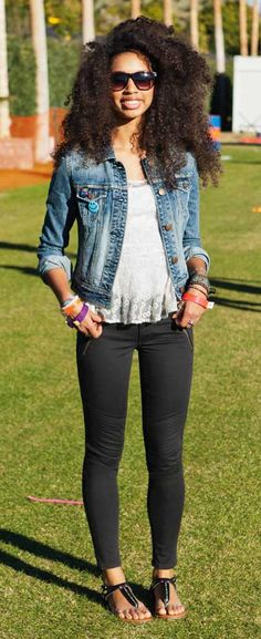 fitted pants, cropped jean jacket