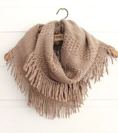 Timber Mocha Fringe Infinity Scarf - #sweaterscarf shoprustichoney.com #country #boutique