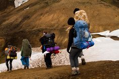 Our team hiking from Landmannalaugar.