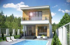 Proiect de casa ingusta cu acoperis plat Home Fashion, Portal, Mansions, House Styles, Outdoor Decor, Home Decor, Swiming Pool, Trendy Tree, Houses