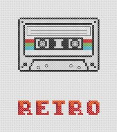 Retro Cassette Cross Stitch Pattern (Printable PDF) Vintage / Music Tape. $2.00, via Etsy.