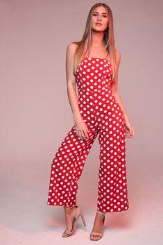 9915d6784dd Red Polka Dot Jumpsuit. KATCH ME