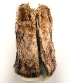 Look at this Brown Faux Fur Vest on #zulily today!
