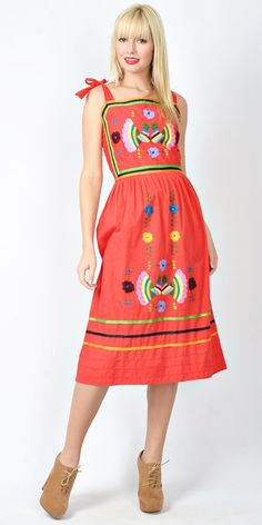 Vintage 70s Red Mexican Dolly Dress Peacock