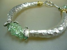 Mixed Metal Silver Gold Emerald Wire Wrapped Bangle Bracelet
