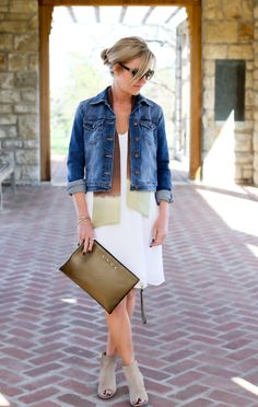 Styling Tip: Any button down will do! From your classic button down shirt (left open) to a denim jacket or even blazer, let the scarf hang casually beneath to add a hanging layer.  Ombre Tip Dyed Ebury Slim Scarf and Amsterdam Recycled Leather Clutch in Nude  www.lionsinfour.com   Lions in Four Style Guide