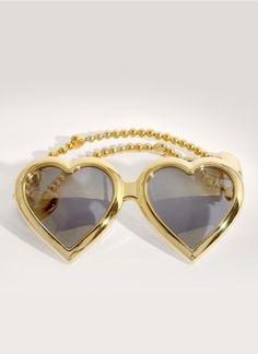 LINDA FARROW - Heart-shaped beaded sunglasses | Metallic Eyewear | Womenswear…