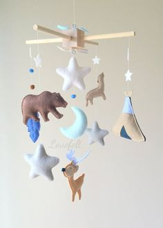 INSPIRATION FOR DIY MOBILE: Baby mobile: Indian/Teepee/Deer/Antlers mobile ($180 to purchase: NOPE)