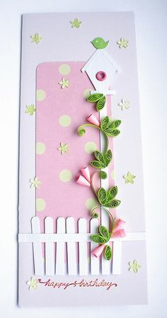 handmade birthday card ... tall and thin format ... pink and white with pops of green ... luv the quilled vine with cupped flowers ... great card!!