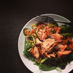My Favourite Lunch to make at home.... Salmon Salad, with Seaweed Salad mmm
