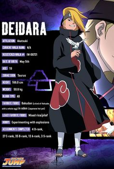 Deidara character info, Wow me and Deidara have the same birthday .. and the same hair and eye colouring