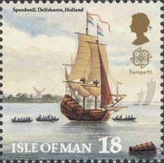 Isle of Man, Sailing ship on the river near Rotterdam (Holland). Uk Stamps, Rare Stamps, Vintage Stamps, Sailboat Art, Postage Stamp Art, Going Postal, Background Vintage, Penny Black, Ship Art