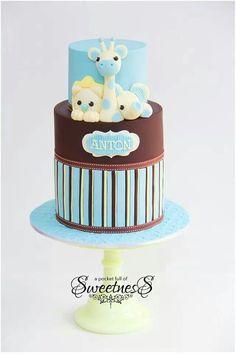 Jungle animals cake - A pocket full of sweetness Gorgeous Cakes, Pretty Cakes, Cute Cakes, Amazing Cakes, Torta Baby Shower, Baby Shower Fun, Baby Showers, Giraffe Cakes, Safari Cakes