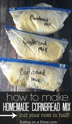 Homemade Cornbread Mix Don't spend the money on cornbread mixes at the store. Instead, learn How to Make Homemade Cornbread Mix easily. It will save you money and save you time in the kitchen. You will still get the convenience of a boxed mix, without the Homemade Dry Mixes, Homemade Spices, Homemade Seasonings, How To Make Homemade, Homemade Food, Homemade Recipe, Homemade Breads, Do It Yourself Food, Homemade Cornbread