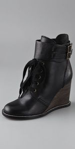 Loving these too! See by Chloe Wedge Lace Up Booties   SHOPBOP