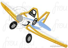Dust Plane Airplane Machine Applique Embroidery Design, Multiple sizes including 4 inch