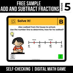 5th Grade FREE Digital Math Game | Add and Subtract Fractions | TpT