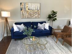 Get inspired by Glam Living Room Design photo by Wayfair. Wayfair lets you find the designer products in the photo and get ideas from thousands of other Glam Living Room Design photos. Blue Velvet Sofa Living Room, Blue And Gold Living Room, Blue Living Room Decor, Glam Living Room, New Living Room, Living Room Sofa, Living Room Designs, Home Decor, Navy Sofa