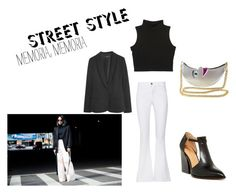 """""""Street Style Blazer and High Waisted Jeans"""" by rosaregaler ❤ liked on Polyvore featuring Bettye Muller, Frame, MANGO, vintage, NYFW, fashionset, polyvorecontest and polyvoreset"""