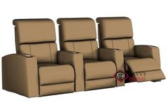Hifi 3-Seat Leather Reclining Home Theater Seating (Straight)