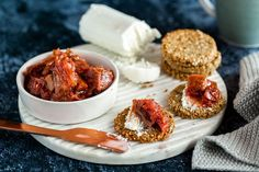 Gluten-Free Herb & Seed Crackers With Ginger Rhubarb Compote - Viva Hot Snacks, Easy Snacks, Seed Crackers Recipe, Dairy Free Cheese, Vegan Cheese, Rhubarb Compote, Compote Recipe, Cheese Alternatives
