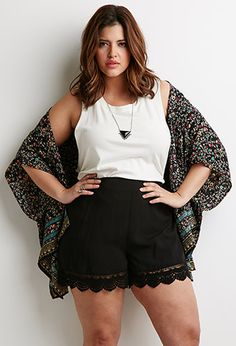 Crochet-Hem Shorts | Forever 21 PLUS - 2000133417