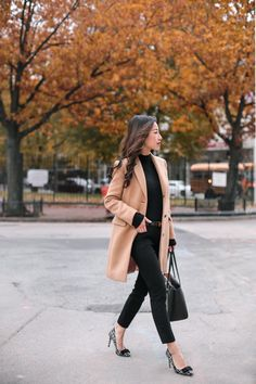 camel wool winter coat + black sweater outfit // petite fashion blog
