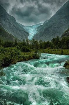 "Briksdalsbreen Glacier, Norway.  ""I want to go where the rivers are overflowing"".  So pretty!"