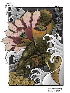 Koi Tattoo Design, Japan Tattoo Design, Japanese Tattoo Designs, Japanese Tattoo Art, Pez Koi Tattoo, Carp Tattoo, Oni Mask Tattoo, Asian Tattoos, Japanese Koi