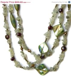 ON SALE Extra Long Multi Strand Mint Green Necklace by ALFAdesigns, $67.49