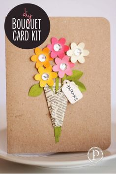 Bouquet Card---looks easy to recreate with a scallop punch & a couple of small flowers
