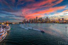 Miami Sunset, Miami Florida, Street Artists, Time Travel, New York Skyline, Sunrise, River, Landscape, Outdoor