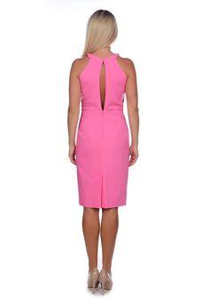 Pink Semi Fit Dress. Halter neck / Backless / by BeSeenAmazing
