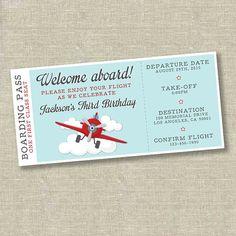 Avión cumpleaños invitación de avión invitación del boleto