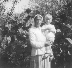 Grand Duchess Olga Alexandrovna and her son, Tikhon in the Crimea: 1919.