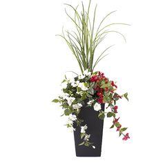 Arrangement floral Dracena avec fleurs rouges & blanches 40'