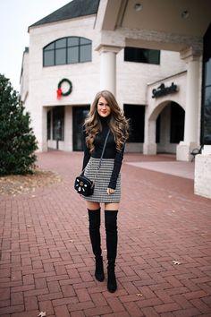 houndstooth skirt, OTK boots