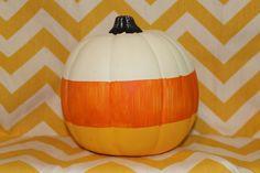 Candy Corn Pumpkin - Halloween, Thanksgiving, Fall, Autumn. $19.00, via Etsy.