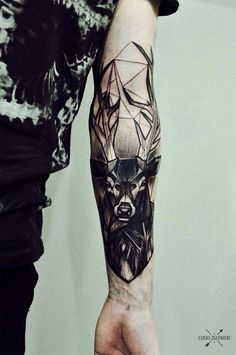 Deer tattoo on the inner forearm inspired in several styles. By Łukas Zglenicki Tattoos Masculinas, Forearm Tattoos, Body Art Tattoos, Sleeve Tattoos, Tatoos, Hand Tattoos, Tigh Tattoo, Tattoo On, Raven Tattoo