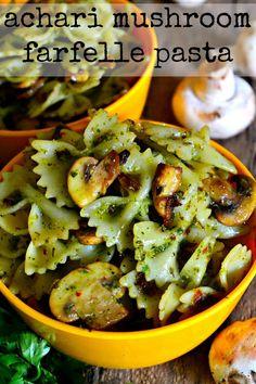Achari Mushroom Farfelle Pasta