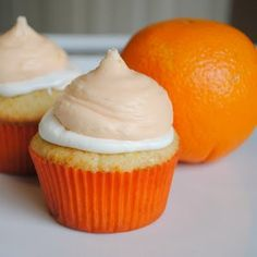 Orange creamsicle cupcakes.....need to make these for my sister!