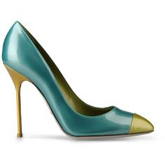 Sergio Rossi Lady Jane Yellow, Turquoise, And Green Patent Leather... ($590) ❤ liked on Polyvore